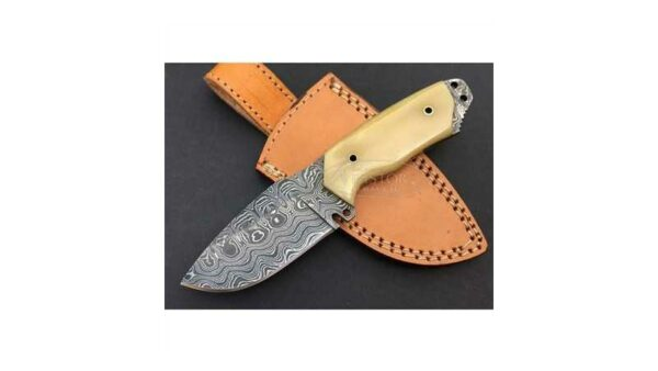 Cuchillo Caza Damasco Hueso