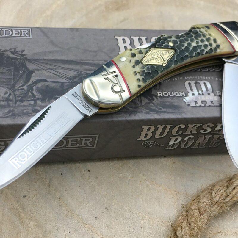 Navaja Rough Rider RR1546 Buckshop Bone Doble Lockback Edición 20 Aniversario